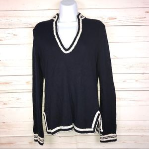 J.Crew Embroidered V-Neck Wool Blend Knit Top Sz M